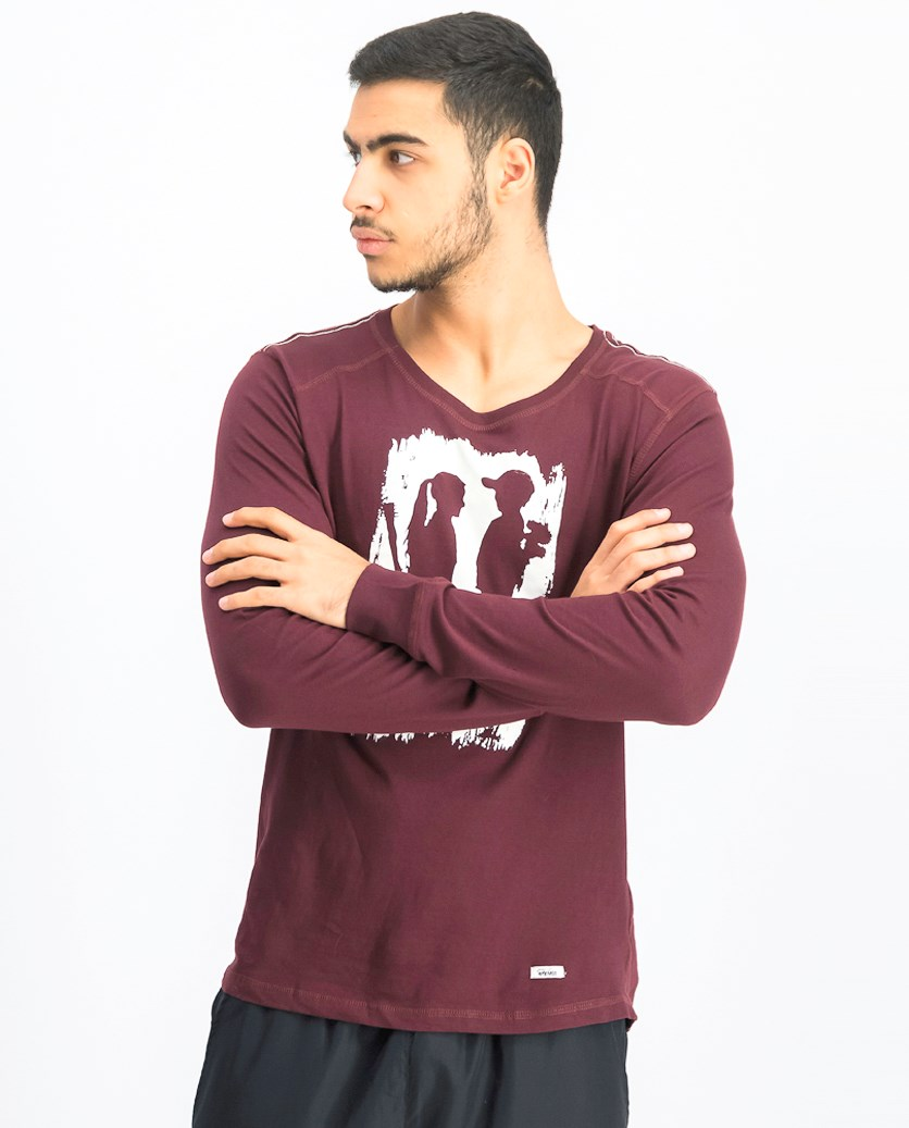 Men's Graphic Sweater, Maroon