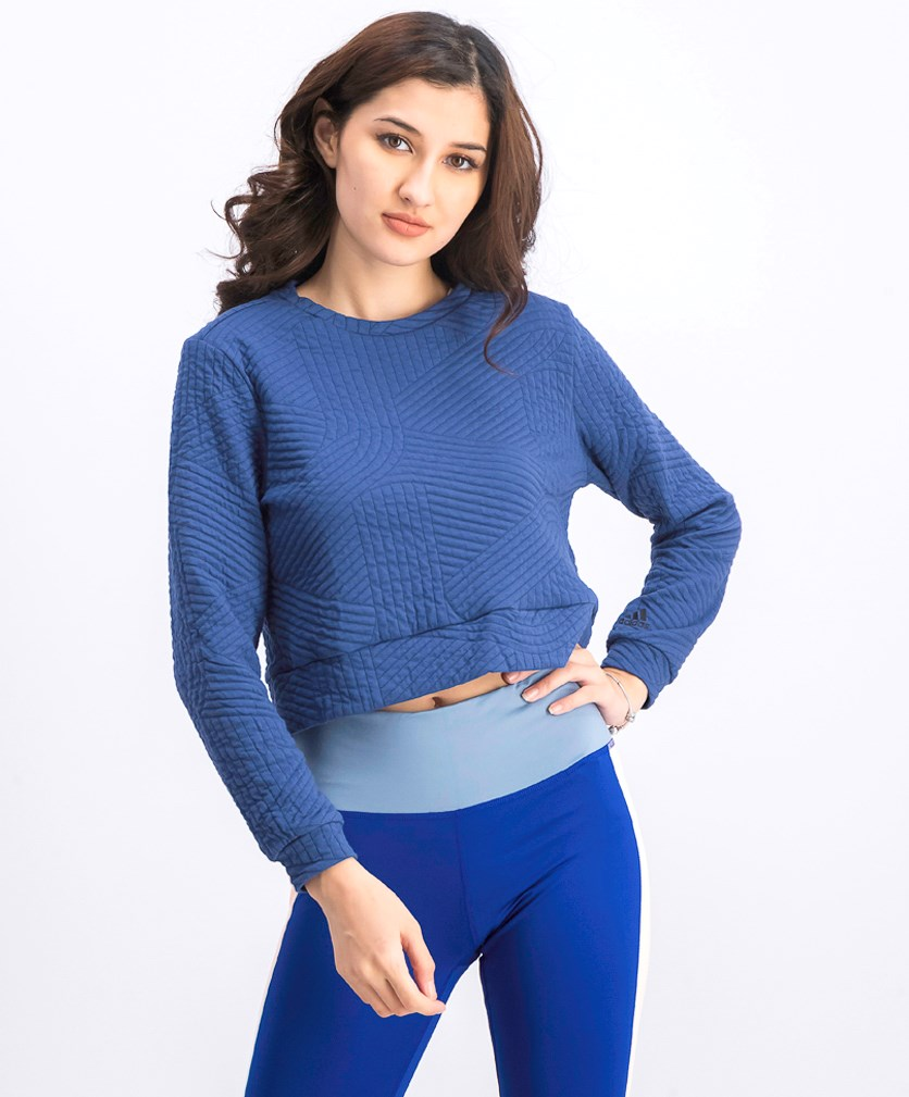 Women's Textured Sweatshirt, Navy Blue