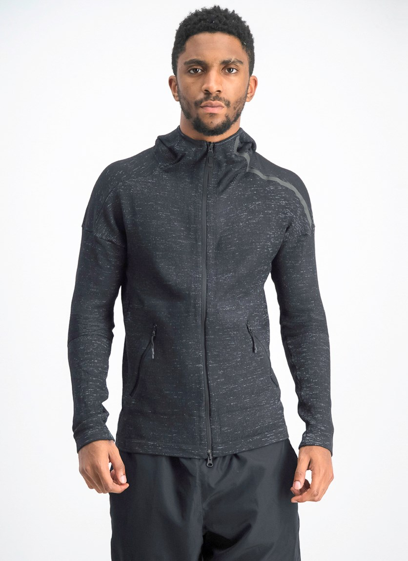 Men's Textured Hoodies, Black