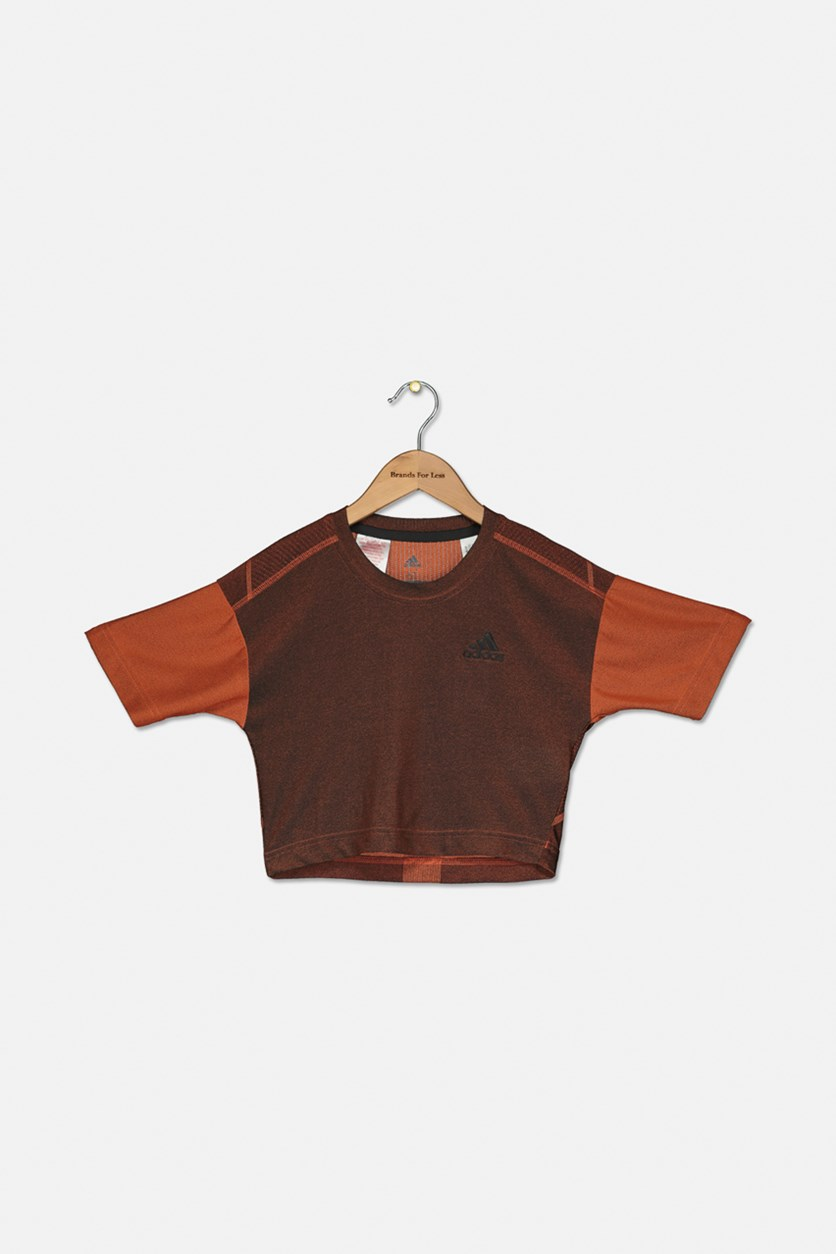 Kids Girls Knitted T-Shirt, Orange Combo