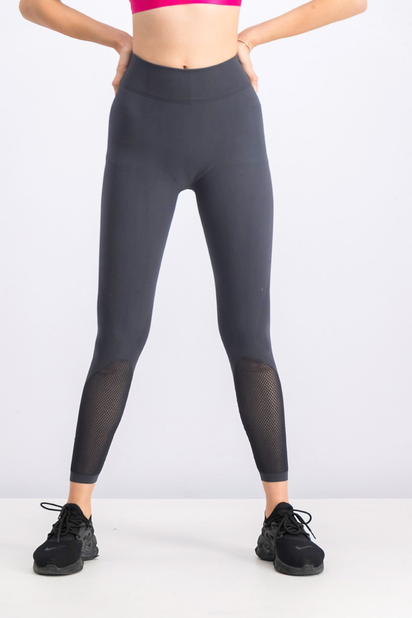 Women's Warp Knit Tight, Carbon/Black