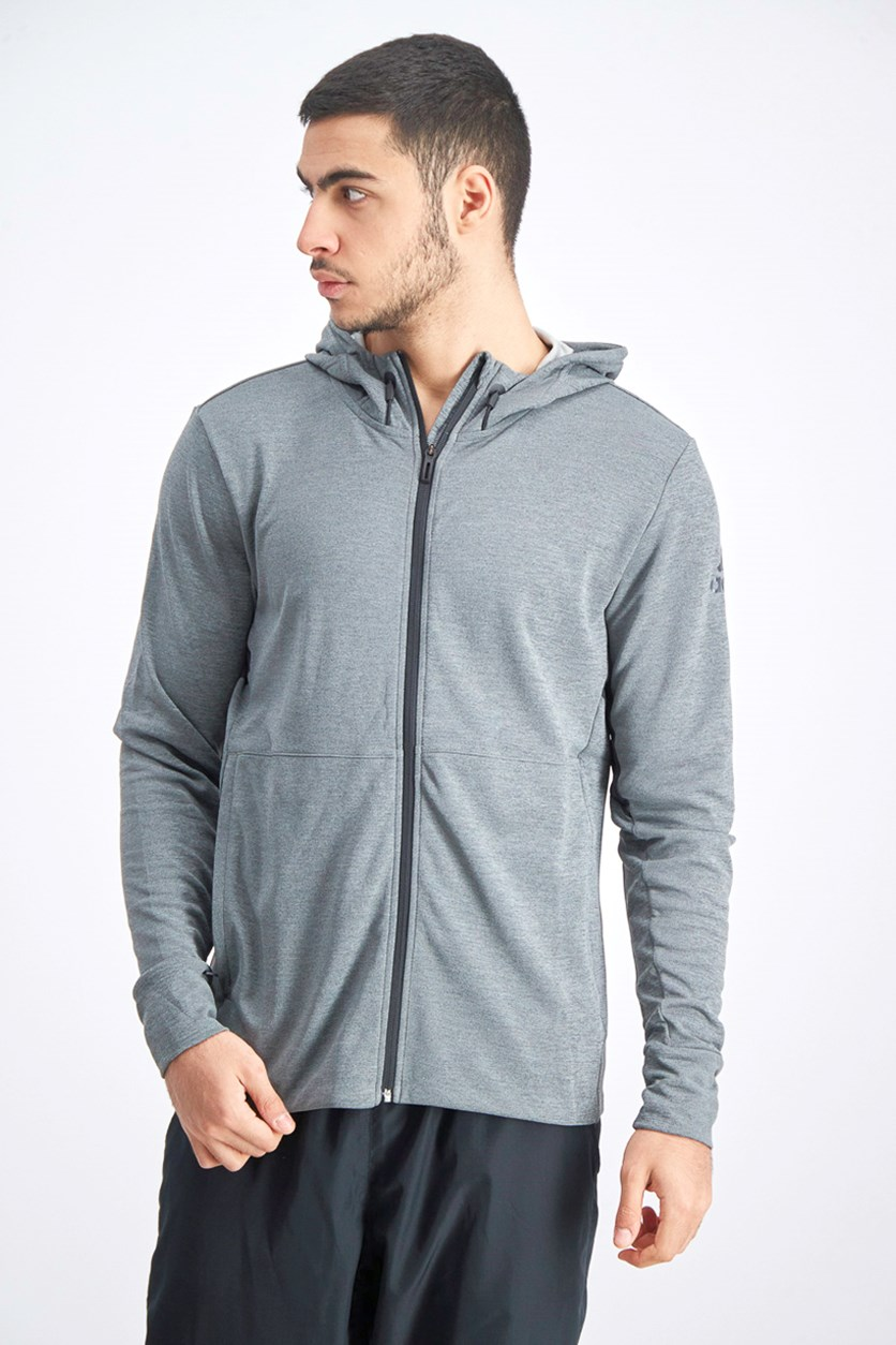 Men's Workout Full Zip Hoodie Climacool, Grey