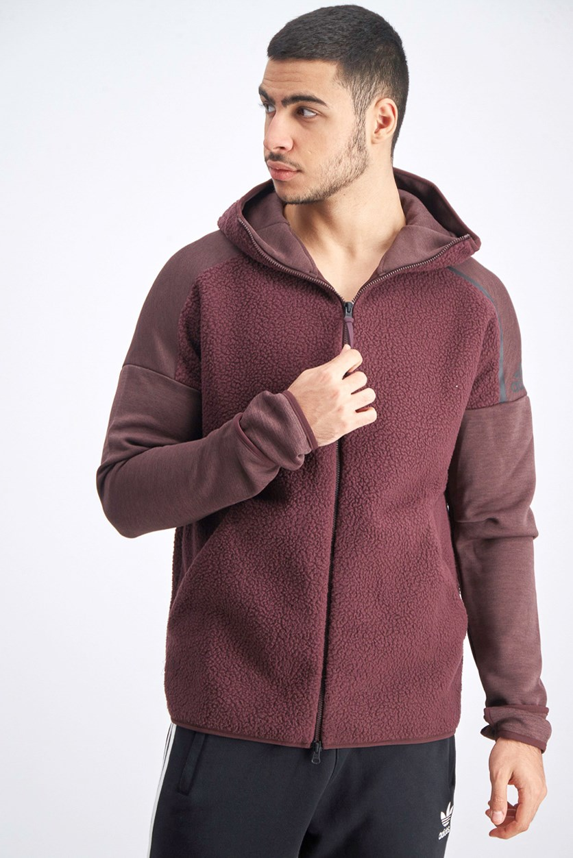 Men's Trench Coat Hoody Jacket, Maroon
