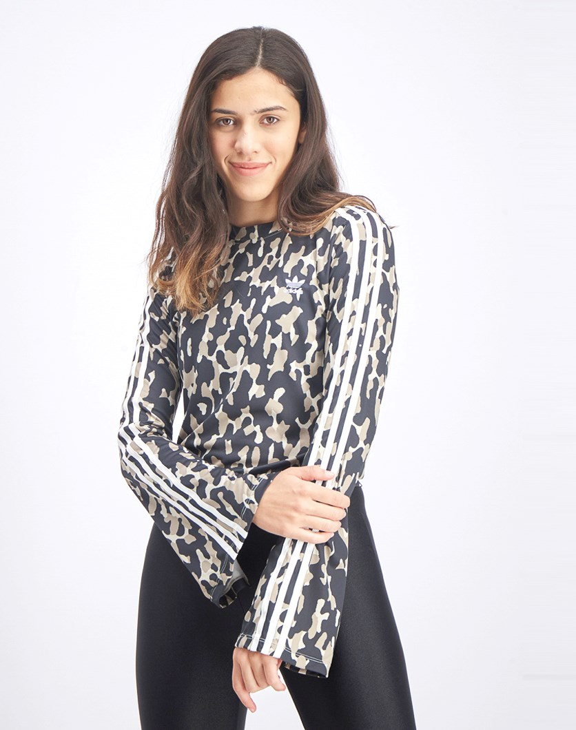 Women's Bell Sleeve All Over Print Top, Black/Beige Combo