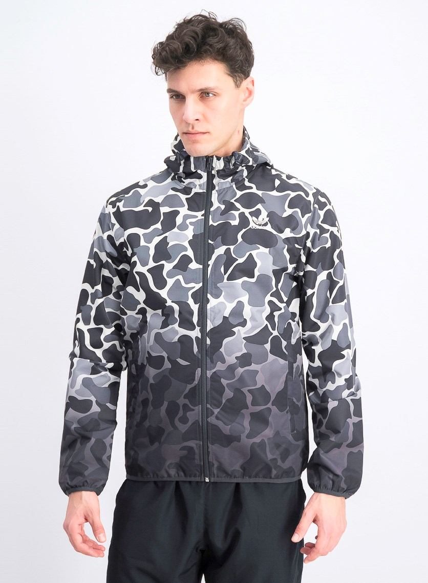 Men's Original Camouflage Windbreaker Hoodie,Grey/Black