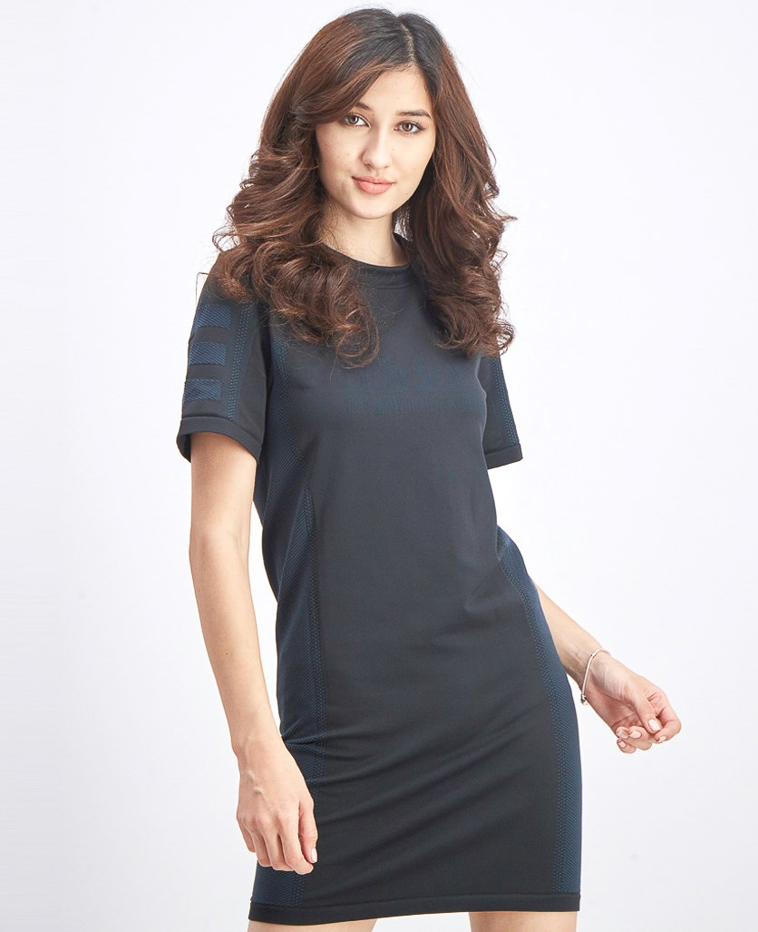 Women's Tee Dress, Black/Teal