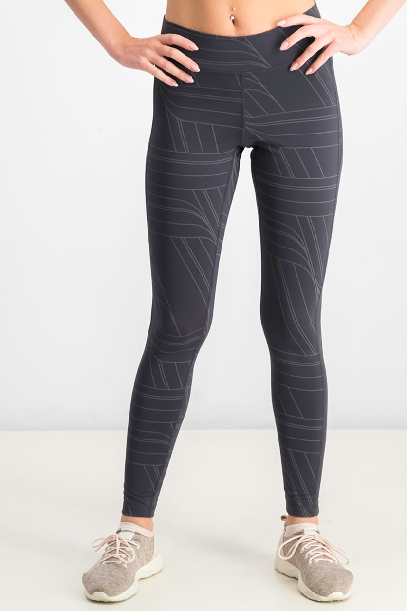 Women's Believe This Long Stripe Tights, Carbon