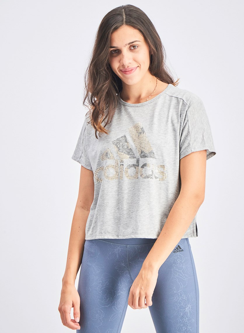 Women's Athletic Graphic Tee, Medium Grey Heather
