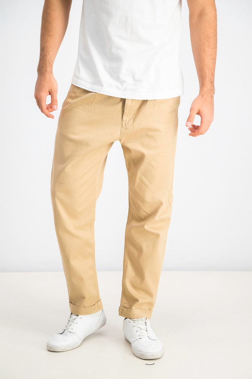 Men's Pleated Chino Pants, Khaki
