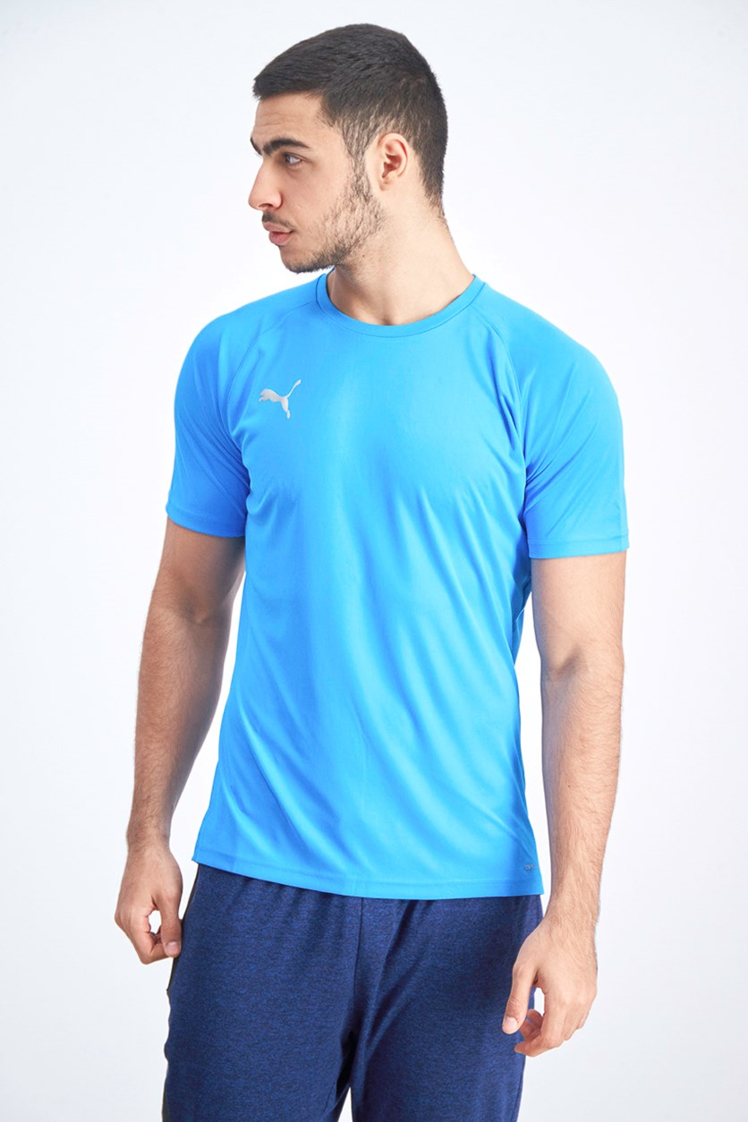 Men's Crew Plain T-shirt, Blue Azur/Red Blast