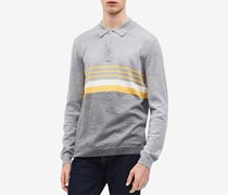 Men's Colorblocked Stripe Polo Sweater, Grey/Yellow