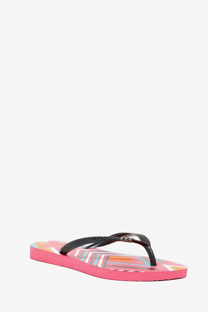 Kids Girls Slim Tribal Flip Flop, Shocking Pink