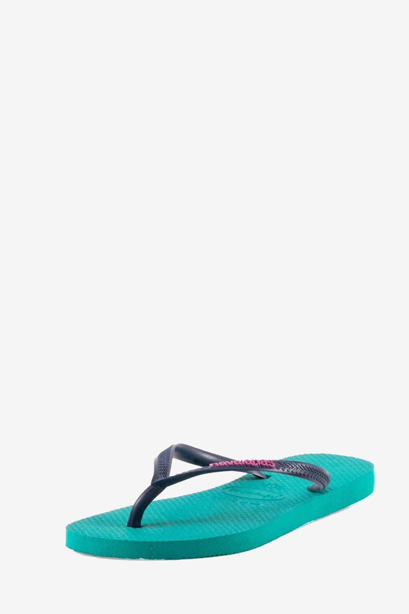 Kids Girls Slim Logo Pop Up Flip Flop, Lake Green