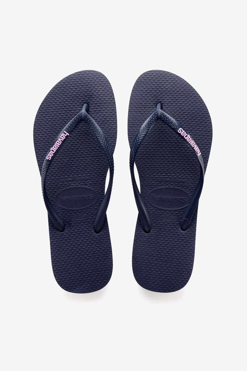 Kids Girls Slim Logo Pop Up Flip Flop, Navy