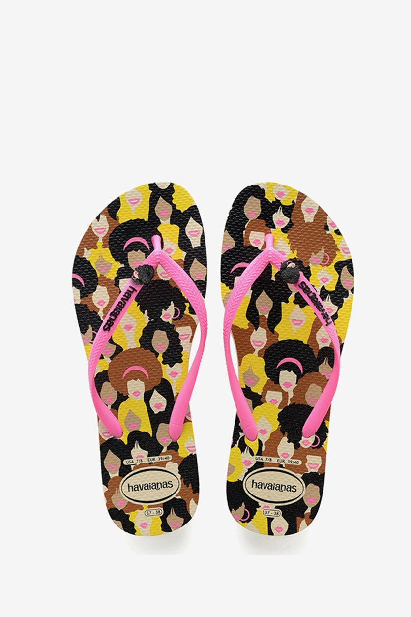 Kids Girls Slim Cool Flip Flop, Beige/Yellow/Pink/Black