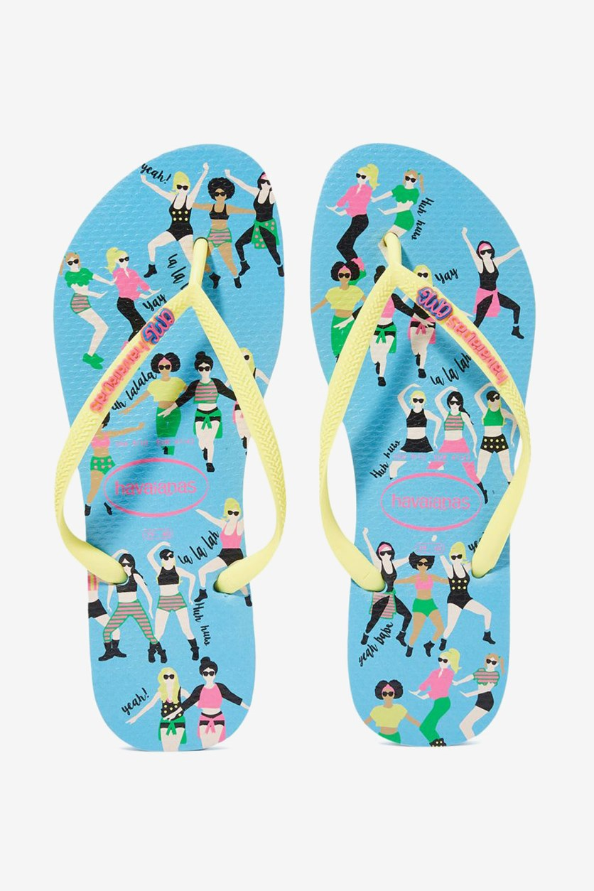 Kids Girls Slim Cool Flip Flop, Blue Splash