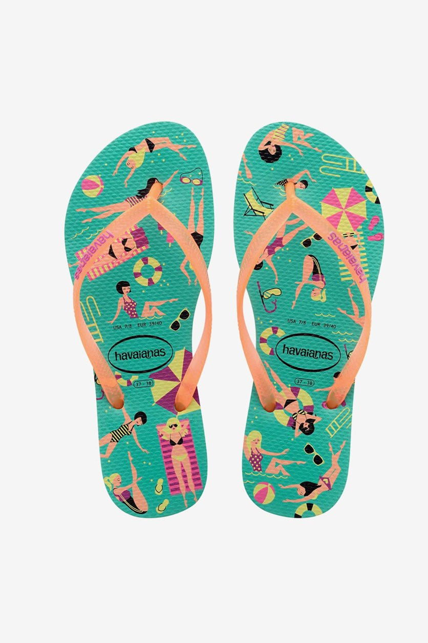 Kids Girls Slim Cool Flip Flop, Mint Green/Orange