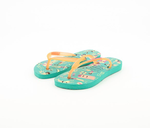 Toddler Girls Slim Cool Flip Flop, Mint Green/Orange