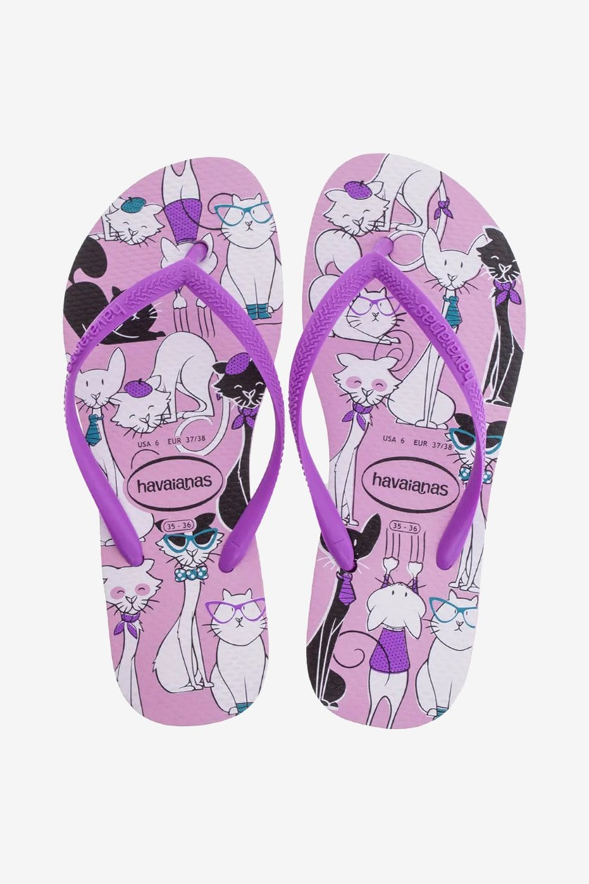 Kids Girls' Pets- Print Slim Slippers, Rose Quartz