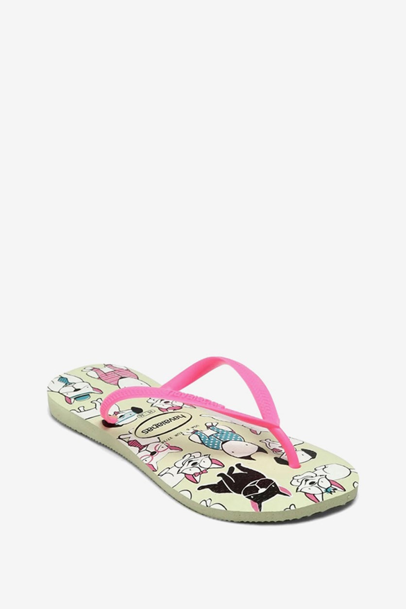 Kids Girls Slim Pets Printed Flip Flop, Apple Green