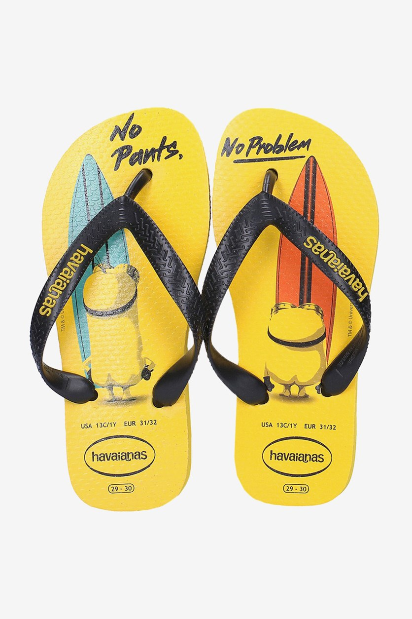 Toddler Boys Minion Flip Flop, Citrus Yellow/Black