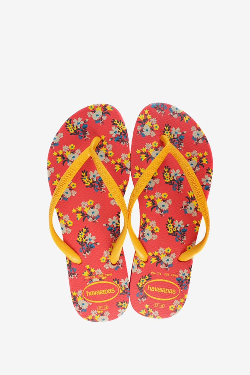 Kids Girls Slim Romance Flip Flop, Coral/Yellow