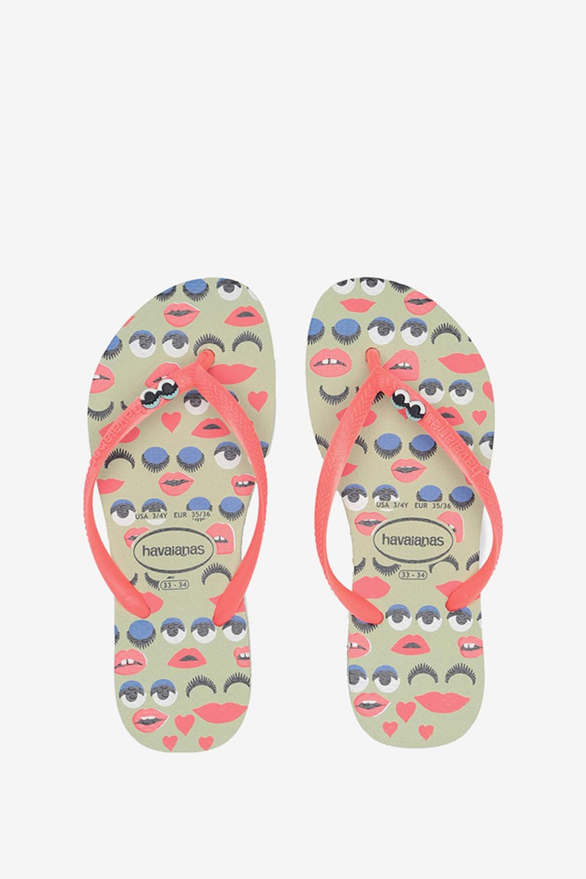 Kids Girls Attitude Flip Flop, Apple Green
