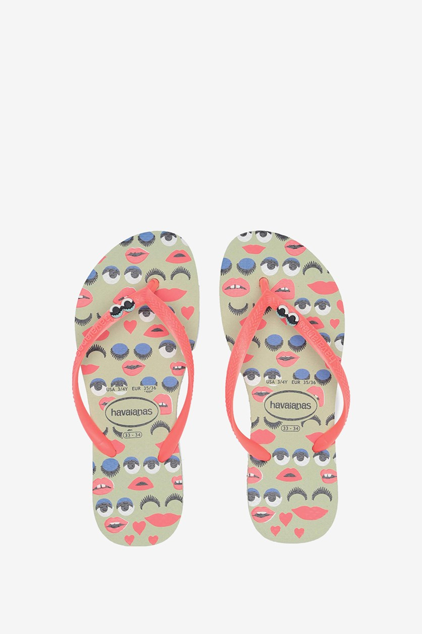 Toddlers Girls Attitude Flip Flop, Apple Green