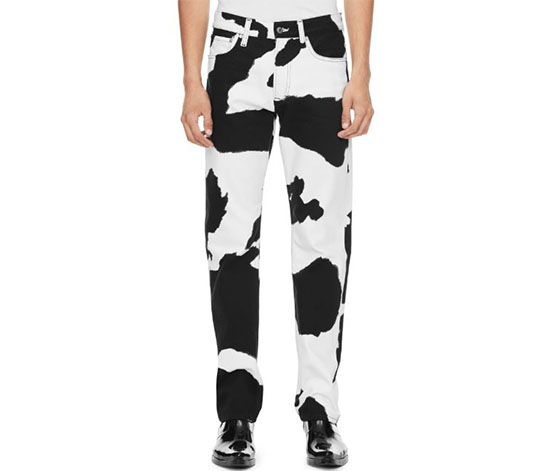 Calvin Klein Men's Cow Print Straight Leg Jeans, Black/White