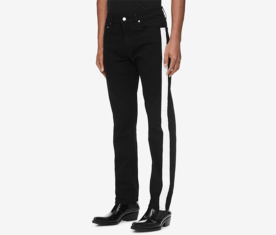 Calvin Klein Men's Side-Stripe Low-Rise Slim Leg Jeans, Black