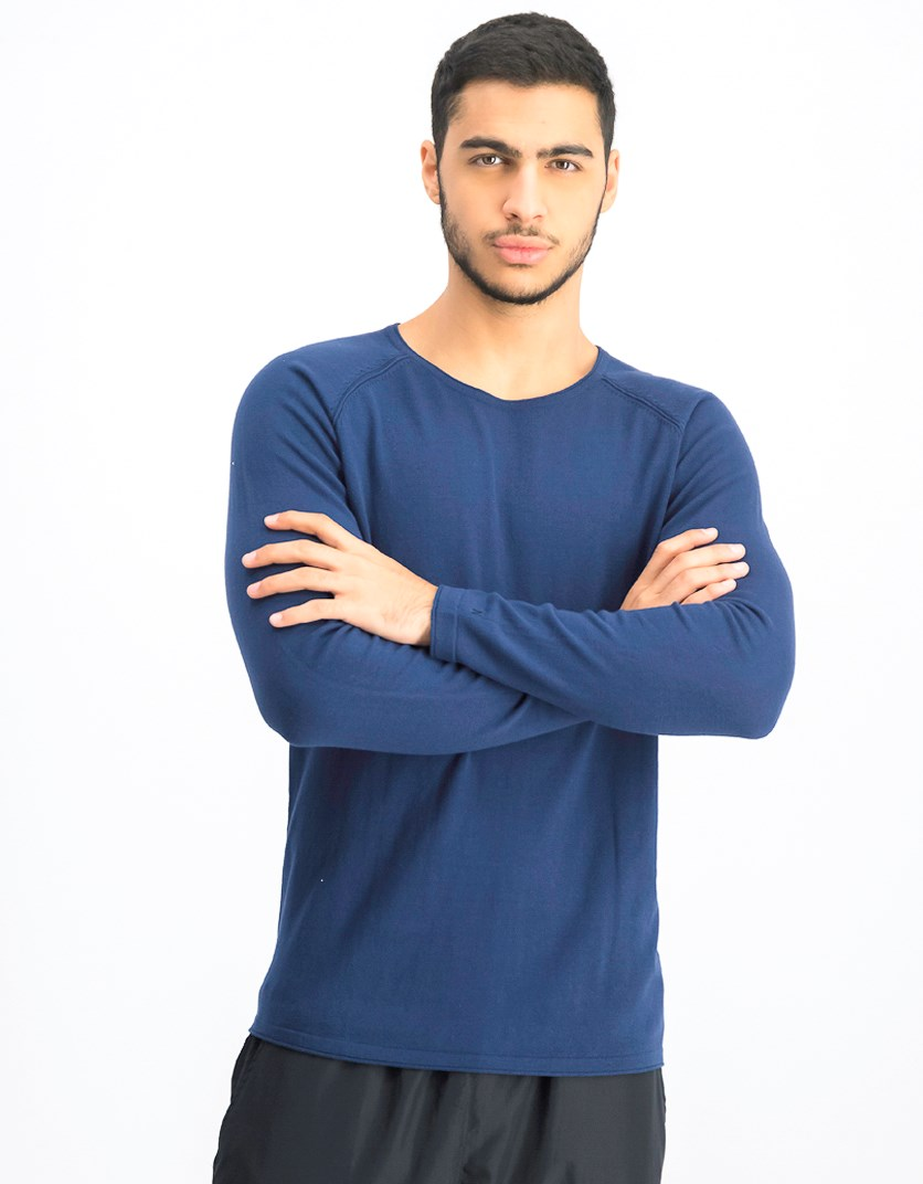 Men's  Round-neck Long-sleeve, Navy Blue