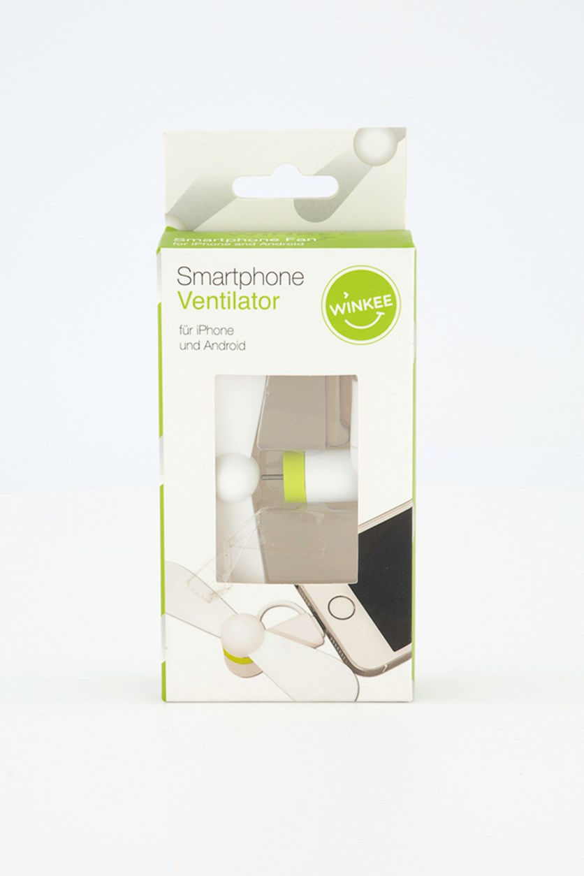 Smartphone Fan for iPhone and Android, White/Green
