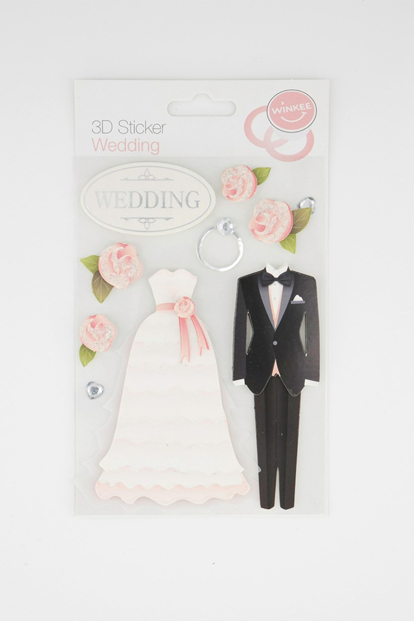 3D Stickers Wedding, White
