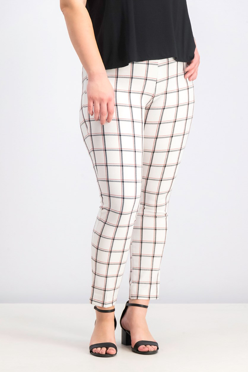 Women's Plaid Pull On Pants, White/Black/Red