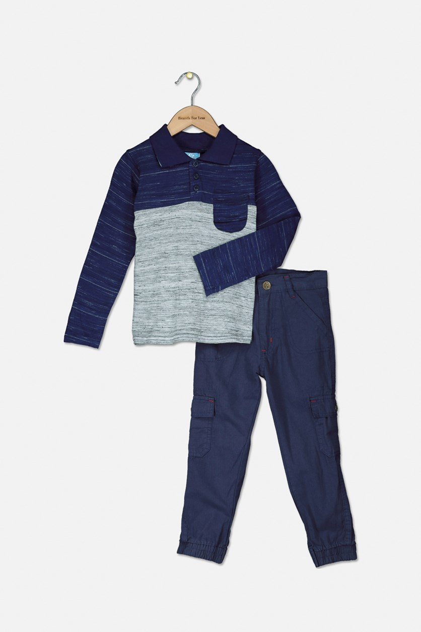 Baby Boys Colorblock Polo Shirt With Twill Pants Set, Navy