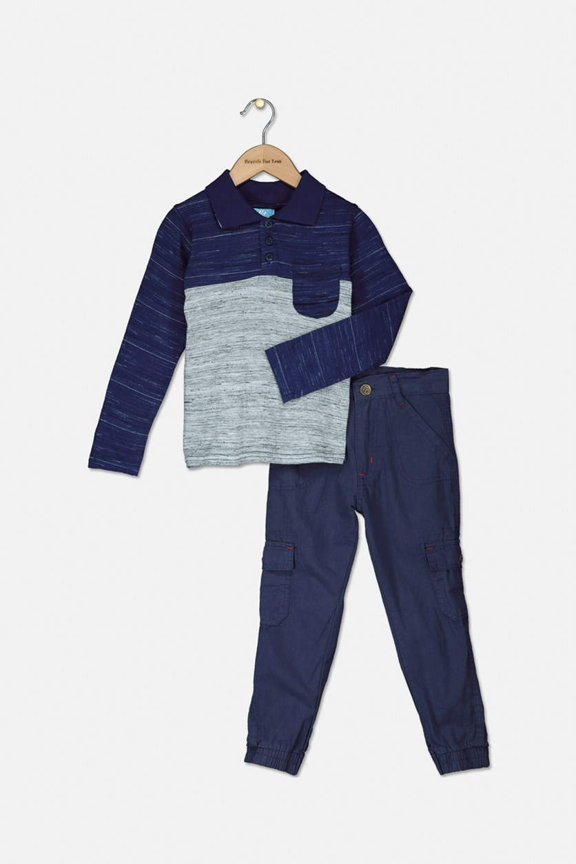 Kid's Boys Colorblock Polo Shirt With Twill Pants Set, Navy