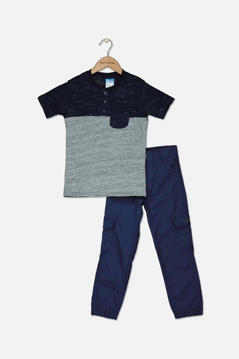 Baby Boys Colorblock Tee With Pants  Set, Navy/Grey