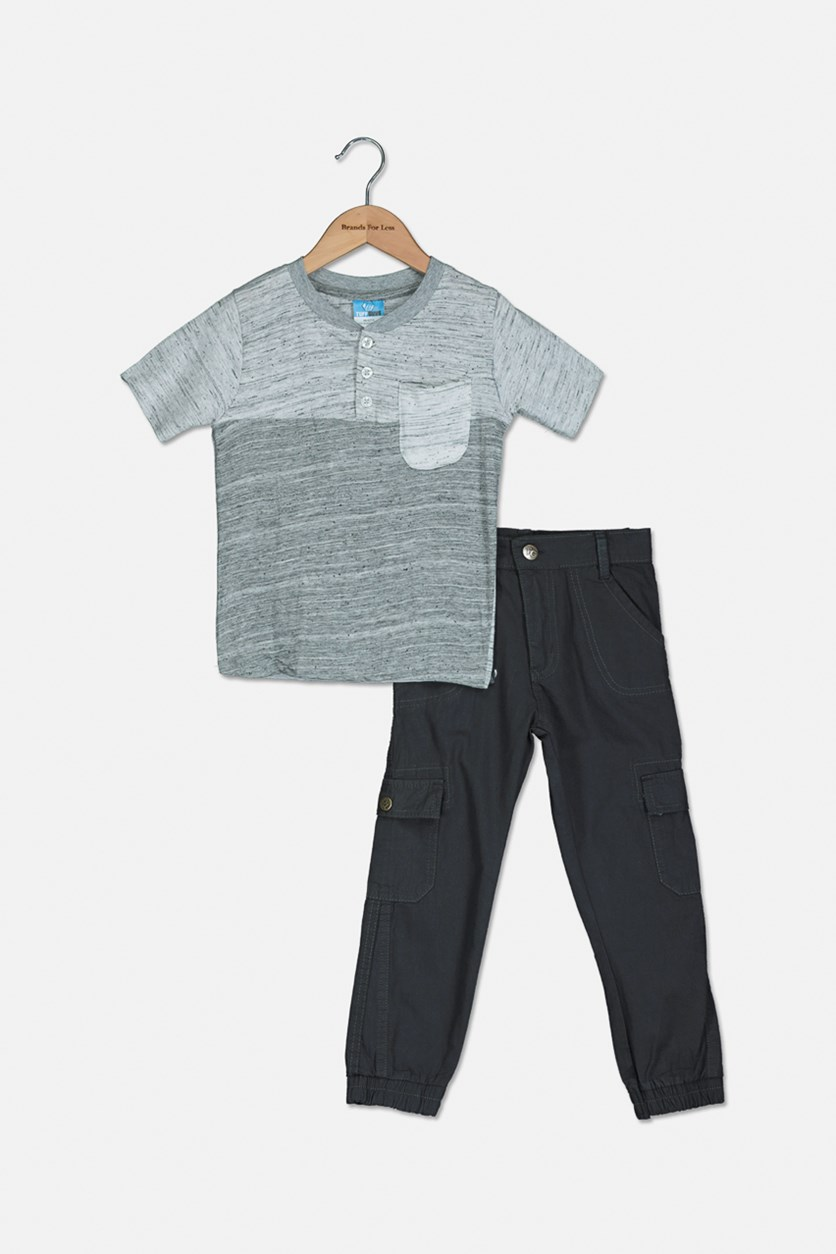 Baby Boys Heather Tee With Pants Set, Grey/White