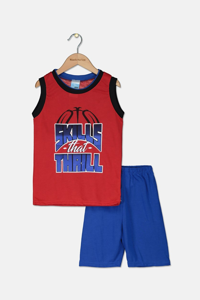 Kid's Boys' Skills That Thrill Pajama Short Set, Red/Blue