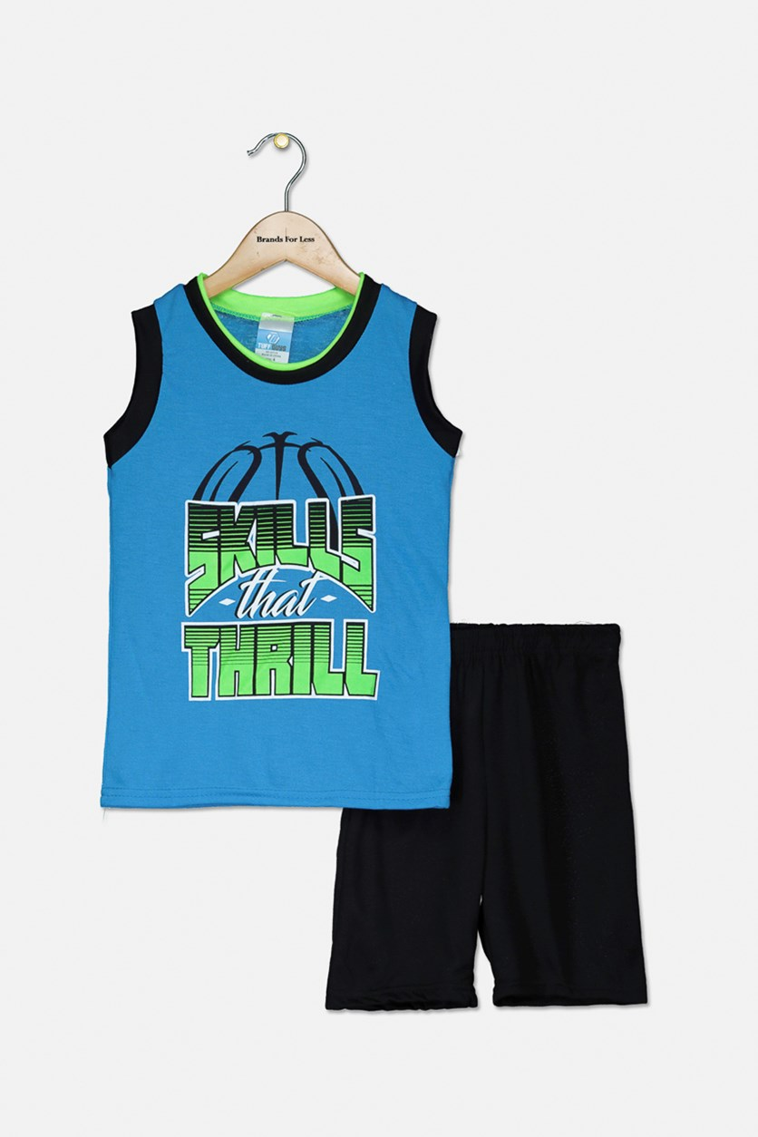 Kid's Boys' Skills That Thrill Pajama Short Set, Blue/Black