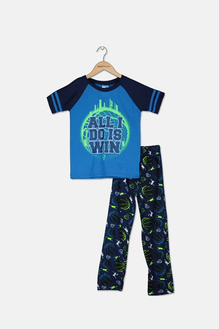 Kid's Boys Graphic Print Pajama Set, Blue Combo