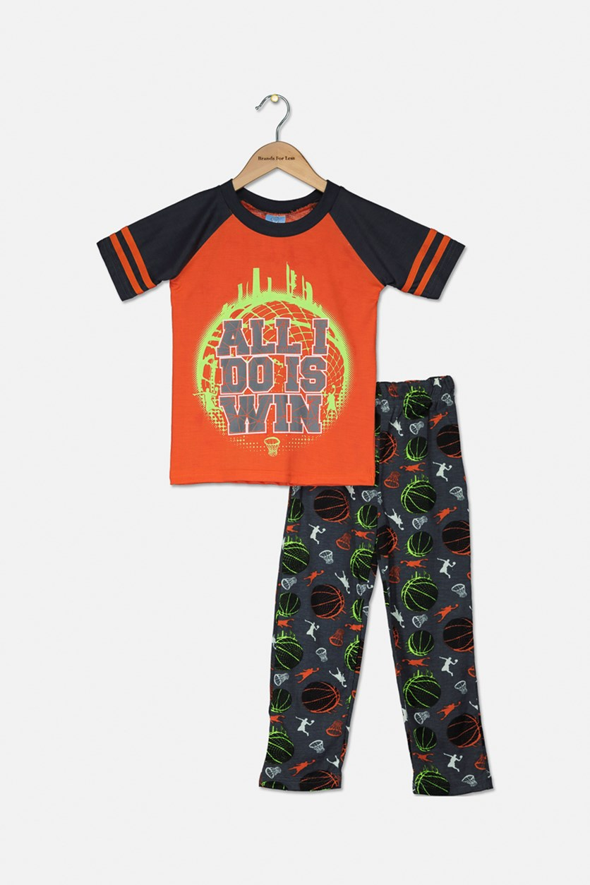 Baby Boys Graphic Print Pajama Set, Orange/Dark Grey