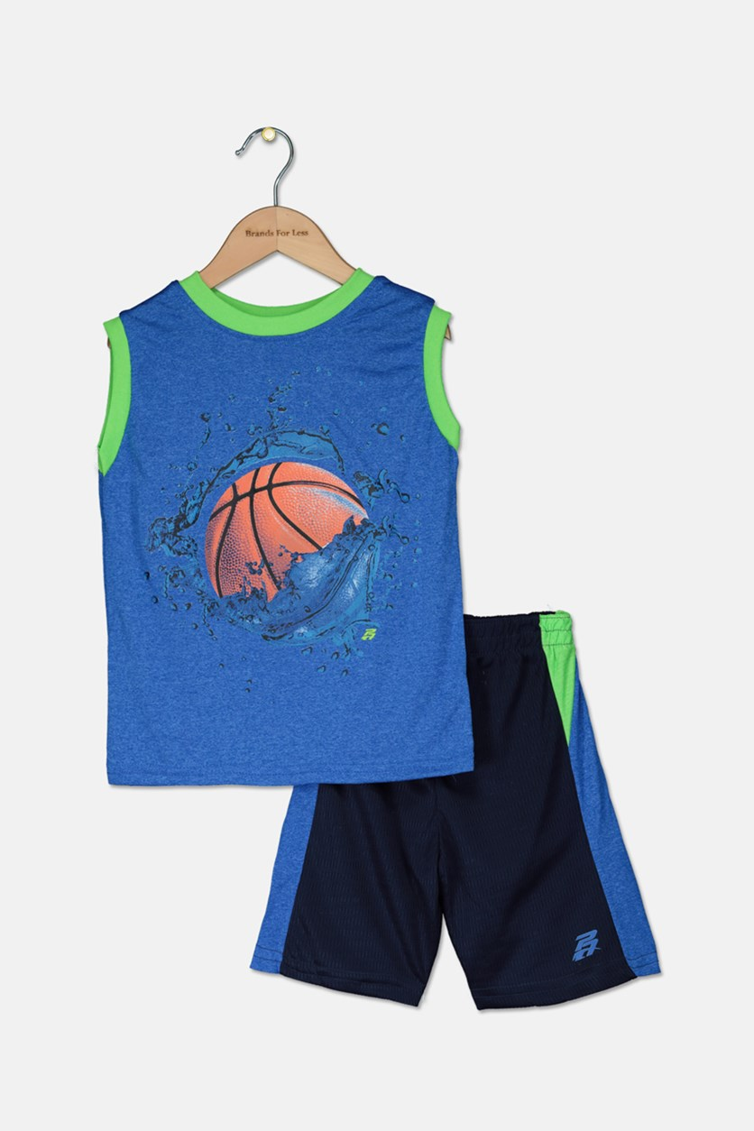 Baby Boys Graphic Muscle Tops & Short Set, Blue