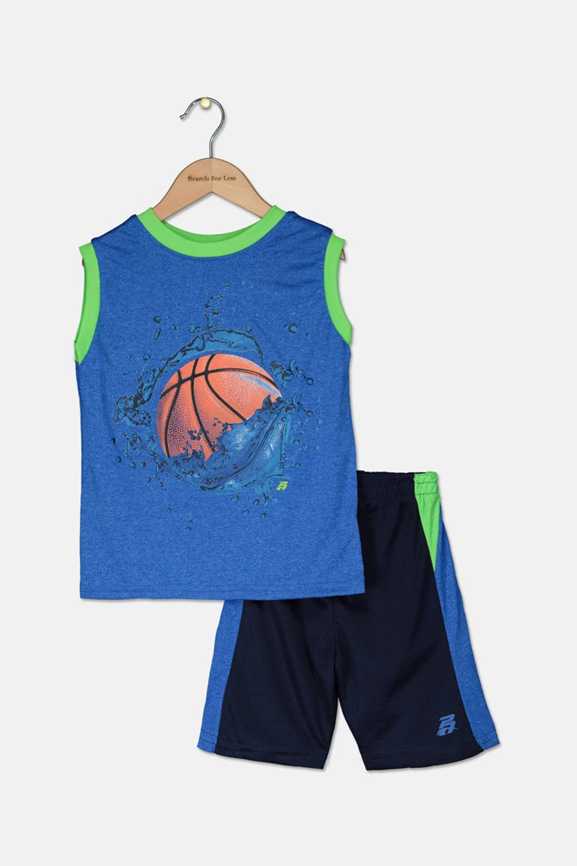 Kid's Boys Graphic Muscle Tops & Short Set, Blue