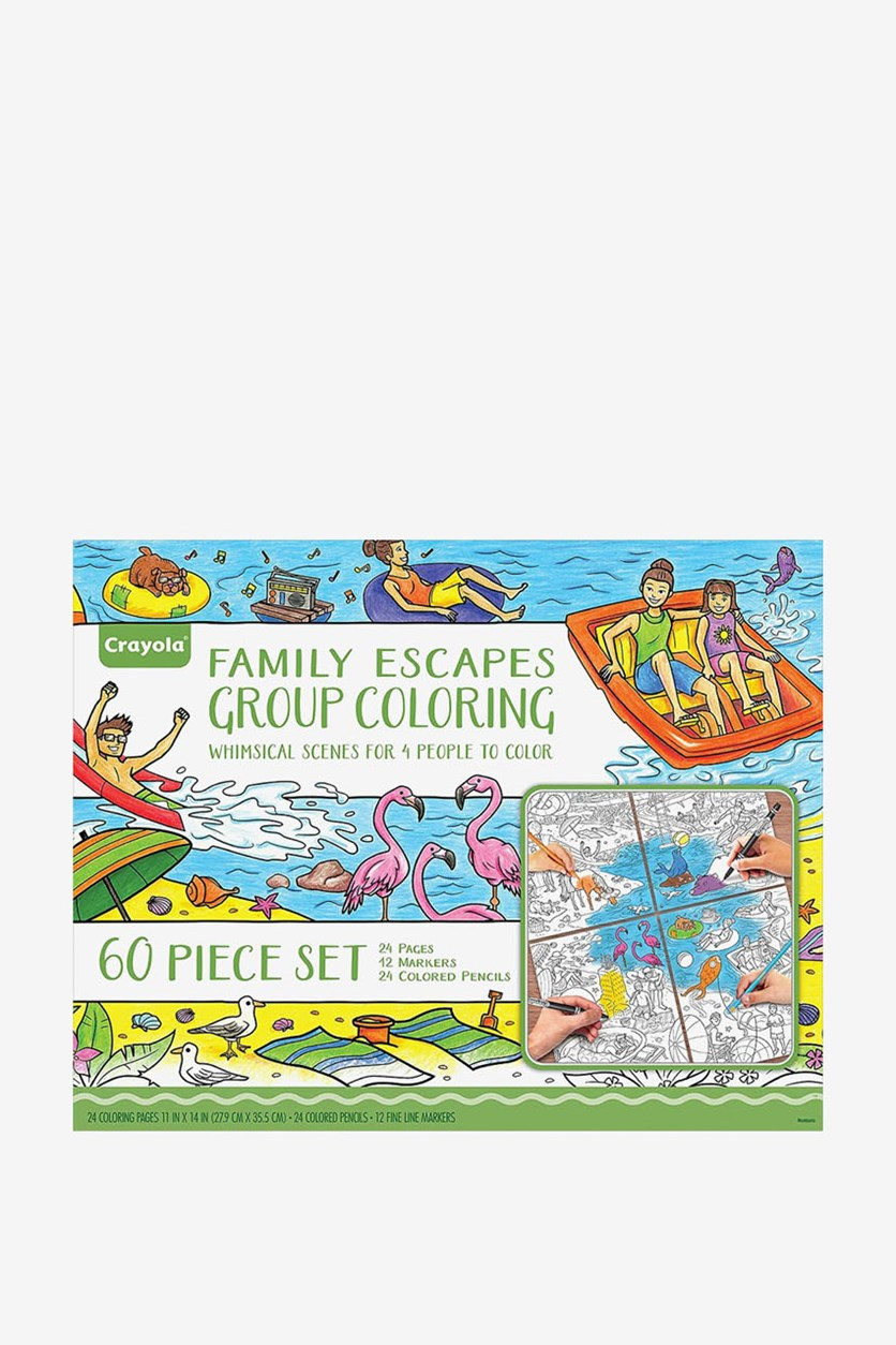Family Escapes Group Coloring Kit, Blue/Green Combo