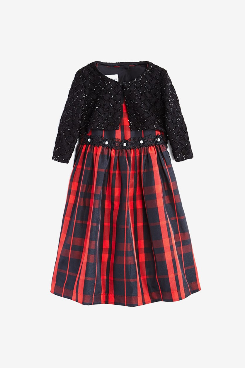 Toddler Girl's Plaid Dress with Metallic-Knit Jacket, Black/Red