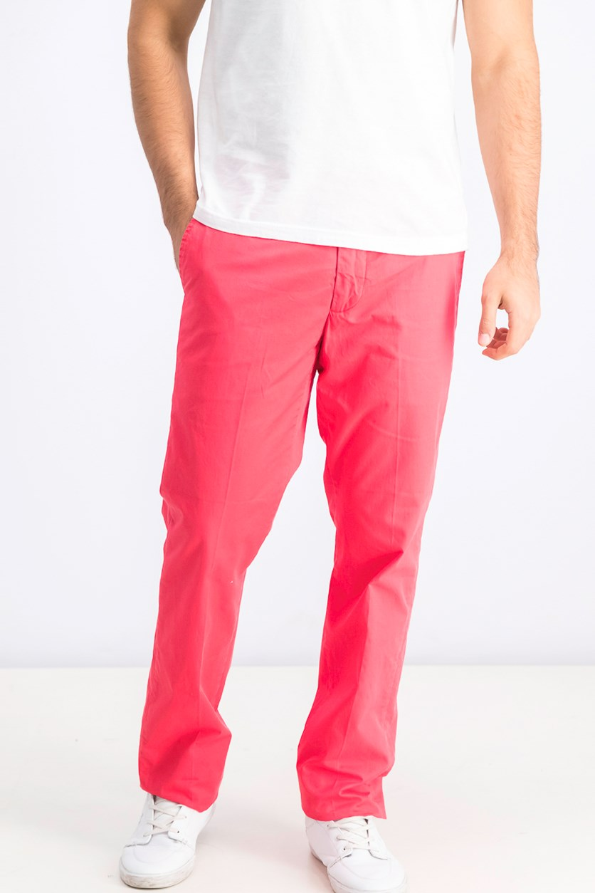 Men's Belt Loops Chino Pants, Pepper Red