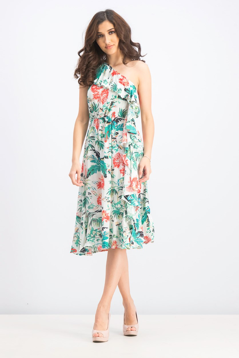 Women's One Shoulder Floral Dress, Ecru/Emerald