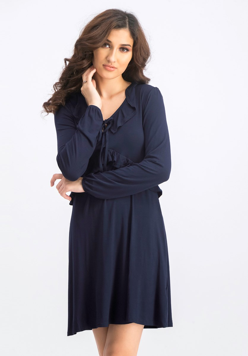 Women's Long Sleeve Dress With Ruffle Detail, Navy