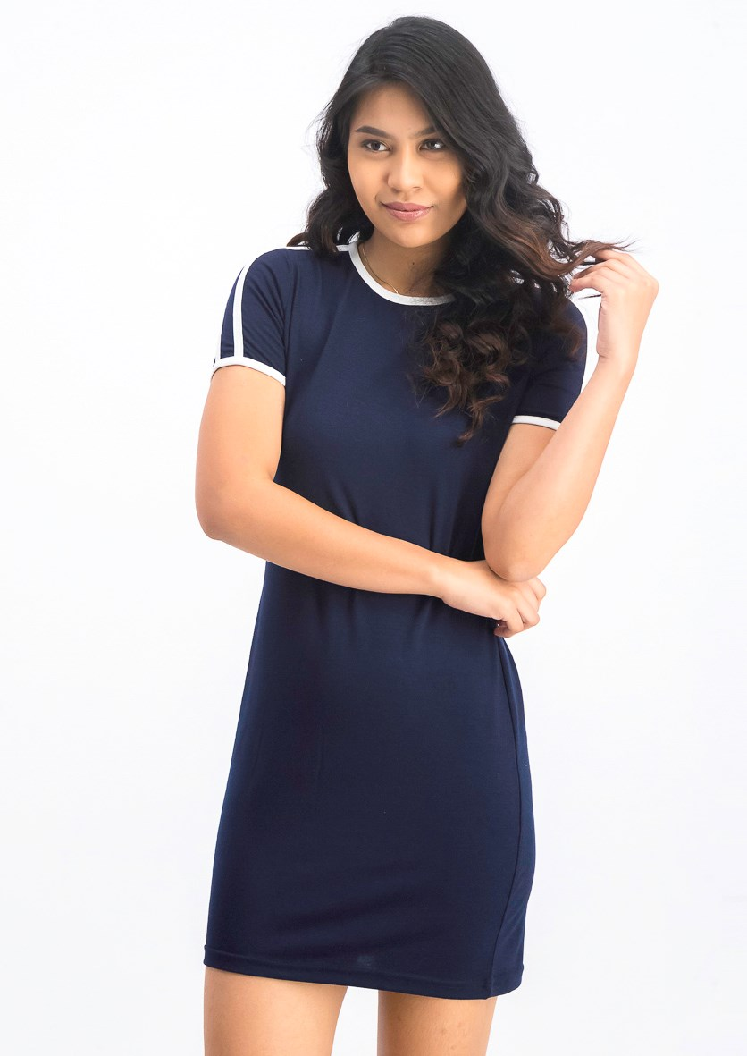 Women's Shirt Dress, Navy/White